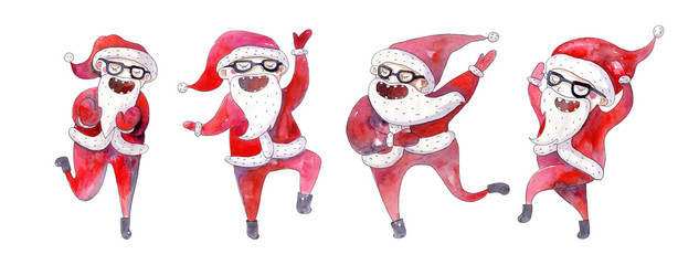 Set of dancing santa hand drawn with bright watercolor isolated on white