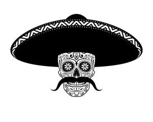 Stencil moustached Sugar skull in sombrero black and white