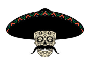 Moustached Sugar skull in sombrero