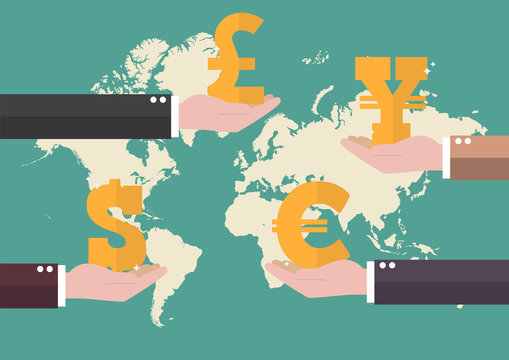 Currency exchange concept with world map background