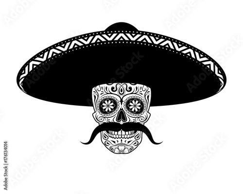 stencil moustached sugar skull in sombrero black and white stock