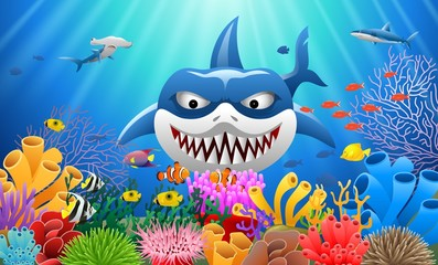 Cartoon shark with Coral Reef Underwater in Ocean Vector illustration