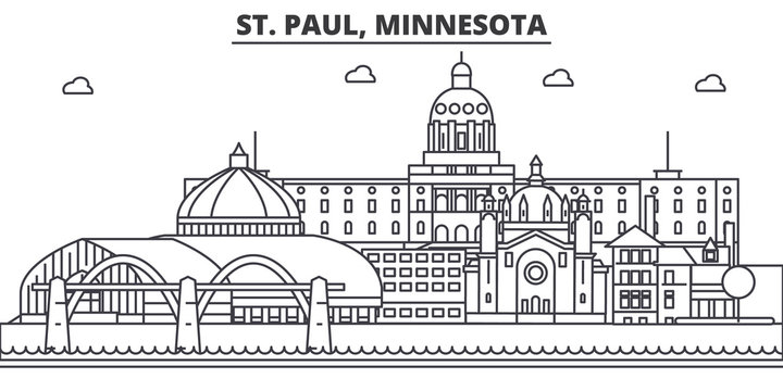 St. Paul, Minnesota architecture line skyline illustration. Linear vector cityscape with famous landmarks, city sights, design icons. Editable strokes