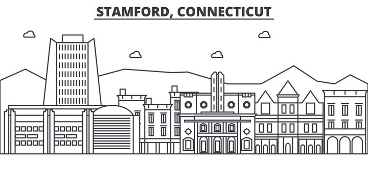Stamford, Connecticut architecture line skyline illustration. Linear vector cityscape with famous landmarks, city sights, design icons. Editable strokes