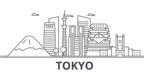 Tokyo Japan architecture line skyline illustration. Linear vector cityscape with famous landmarks, city sights, design icons. Editable strokes