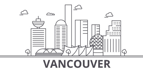 Vancouver architecture line skyline illustration. Linear vector cityscape with famous landmarks, city sights, design icons. Editable strokes