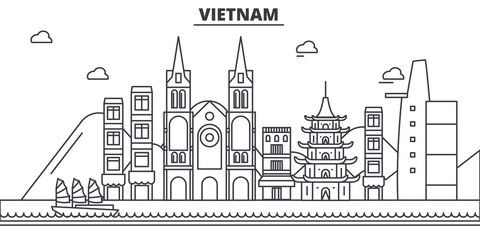 Vietnam architecture line skyline illustration. Linear vector cityscape with famous landmarks, city sights, design icons. Editable strokes