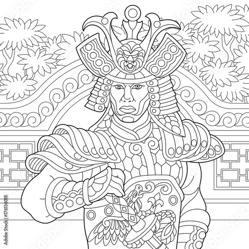Coloring page of japanese samurai with katana sword. Freehand sketch ...
