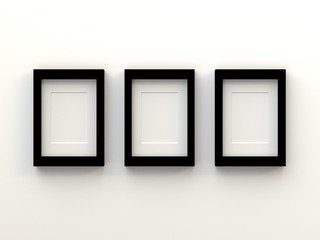Realistic group of blank  picture frame templates set on living room white background, 3D render