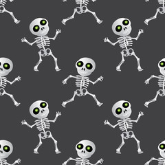 Happy cartoon skeleton seamless pattern on dark grey background. Vector illustration to Happy Halloween holiday or Day of the Dead (Dia de Muertos)
