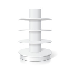 White round POS shelf for supermarket blank empty displays with shelves products