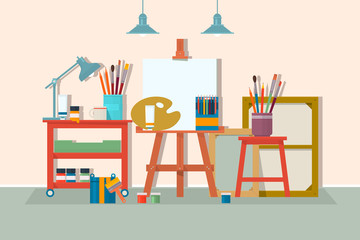 Art drawing design studio furniture. .Creative workshop room with canvas, paints, brushes, easel and pictures. Design salon for artists. Flat style vector illustration.