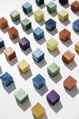 Colored cubes arranged next to each other