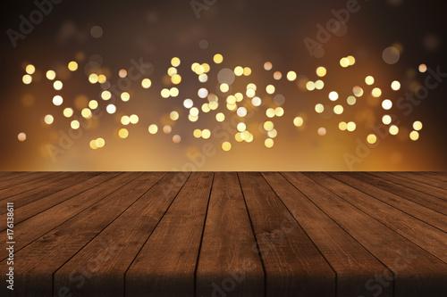 Weihnachten Hintergrund Mit Lichterkette Und Bokeh Effekt Für  Produktplatzierungen