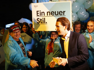 Head of the OeVP Kurz arrives for a TV discussion in Vienna