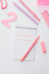 Pink Math Notes and School Items