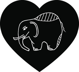 Elephant in black heart