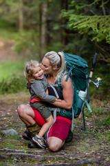 hiking mother and daughter