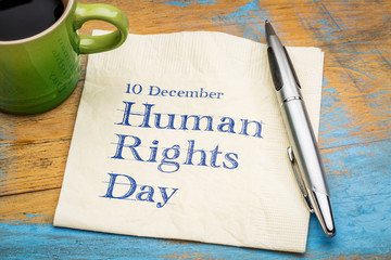 Human rights day - napkin note