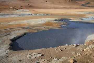 Geothermal mud hole near Reykjahlid, Iceland.