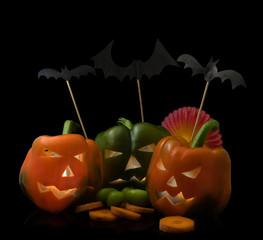 Pimientos Halloween fondo negro