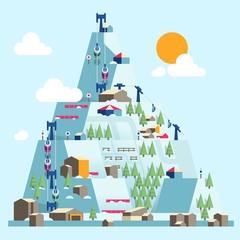 Ski resort illustration