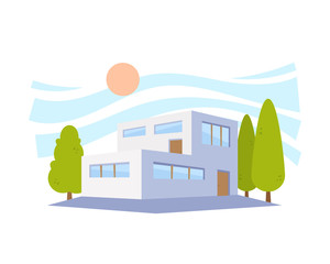 Flat Style Modern Architecture House with Green Trees. Vector Illustration in The Perspective View.