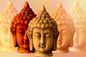 A background with several images of a buddha