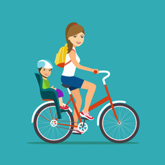 Woman and kid on bicycle with child seat and in bicycle isolated. Vector flat illustration.