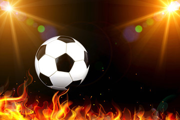 Soccer ball with stadium lights and flames