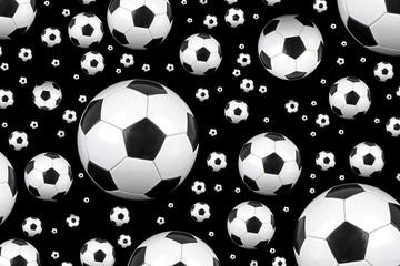 Soccer balls on black background.