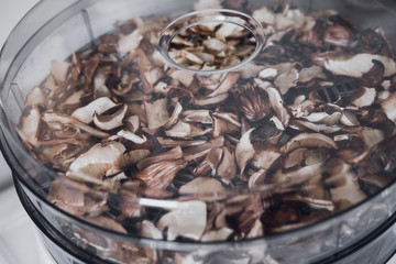 Digital food dehydrator drying mushrooms