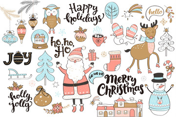 Set of new year and christmas elements. Vector Illustration.