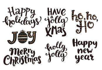 Holidays lettering phrases for New Year and Christmas. Vector illustration.