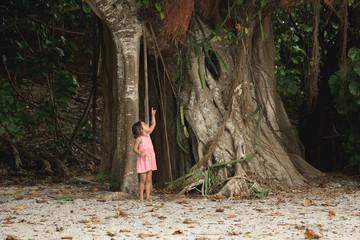 A Girl Looks Up At A Banyan Tree