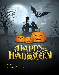 Happy Halloween pumpkin message design background, vector illustrations