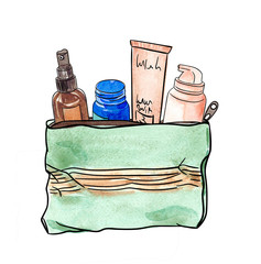 watercolor cosmetic bag with cream tubes and spray, make up kit hand painted illustration