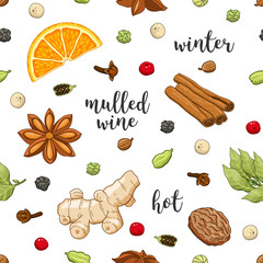 Vector seamless pattern on white background with glass of mulled wine, orange, cinnamon, cardamom, anise star, cloves, pepper, ginger, coriander and nut. Winter christmas colored illustration.