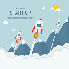 Rocket launch ship. start up, illustration concept of new business product on a market. vector