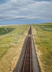 Overhead view of railroad tracks on the prairies