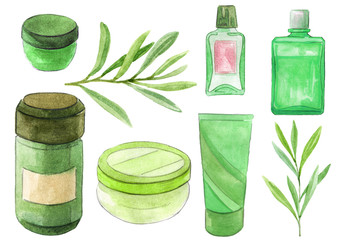 Natural herbal cosmetic products in different containers