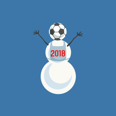 Snowman with soccer ball icon. Freehand drawn colorful cute cartoon player man from snow. Design idea for football match, sport game or template season greeting card for 2018. Vector illustration