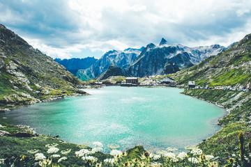 Beautiful St Bernard pass in Switzerland.