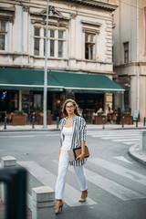 Series of a business woman in the city.