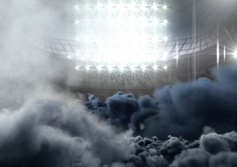Foto auf Leinwand Stadion american football stadium with smoke