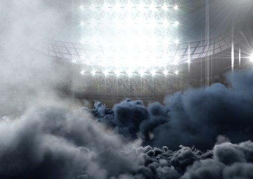 american football  stadium with smoke