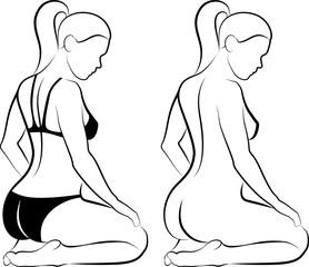 sketch of woman massaging her leg