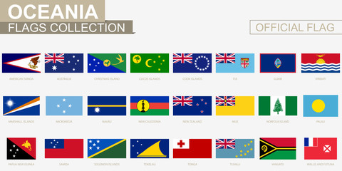 National flag of Ocenian countries, official vector flags collection.