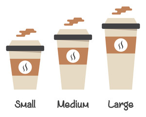 Fototapeta Set of different size hot drink cup vectors with steam isolated on white. Illustration of a small, medium and large take away drink collection. obraz