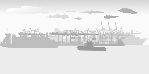 sea port with large port cranes and large ocean-going cargo ships